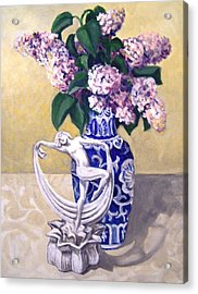Acrylic Print featuring the painting Dancing Lilacs by Laura Aceto