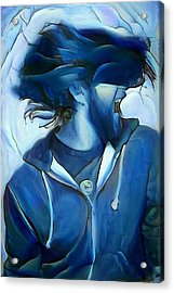 Dancing Portrait Of Wild Male Hair In Blue Acrylic Print by MendyZ