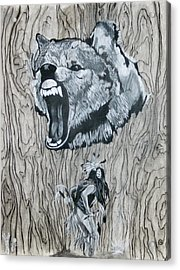 Dancing With The Spirit Of The Wolf Acrylic Print by KeMonee Casey