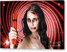 Danger. Zombie Holding Explosives In A Terror Act  Acrylic Print by Jorgo Photography - Wall Art Gallery
