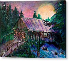 Acrylic Print featuring the painting Dangerous Bridge by Seth Weaver