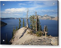 Dangerous Slope At Crater Lake Acrylic Print by Carol Groenen