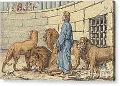 Daniel In The Lions' Den Acrylic Print by French School