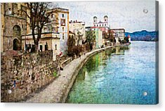 Danube River At Passau, Germany Acrylic Print
