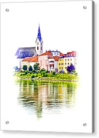 Danube Village Acrylic Print by Dennis Cox WorldViews