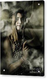 Dark Artwork Of A Female Soldier In Pistol Smoke Acrylic Print by Jorgo Photography - Wall Art Gallery