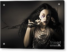 Dark Beauty Woman. Rich Jewellery And Black Nails Acrylic Print