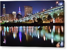 Dark Blue Night In Cle Acrylic Print by Frozen in Time Fine Art Photography