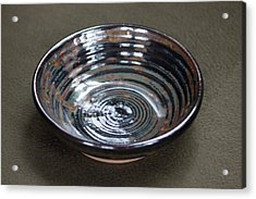 Dark Brown And Red Ceramic Bowl Acrylic Print by Suzanne Gaff