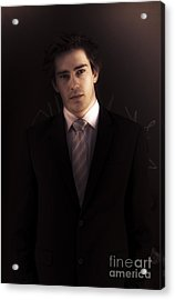 Dark Business Man Standing In Shadows Acrylic Print