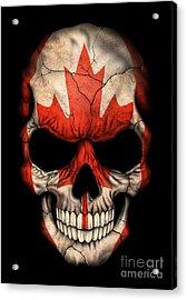 Dark Canadian Flag Skull Acrylic Print