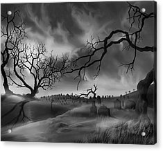 Acrylic Print featuring the painting Dark Cemetary by James Christopher Hill