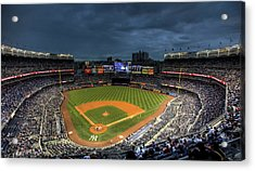 Dark Clouds Over Yankee Stadium  Acrylic Print by Shawn Everhart