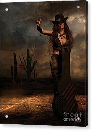 Acrylic Print featuring the digital art Dark Desert Highway by Shanina Conway
