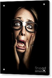 Dark Face Of Business Woman Under Stress And Fear Acrylic Print by Jorgo Photography - Wall Art Gallery