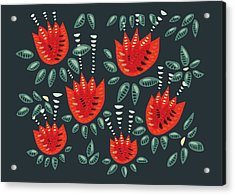 Dark Floral Pattern Of Abstract Red Tulips Acrylic Print