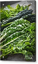 Dark Green Leafy Vegetables Acrylic Print by Elena Elisseeva