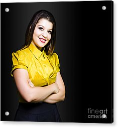 Dark Haired Business Beauty In Gold Blouse Acrylic Print by Jorgo Photography - Wall Art Gallery