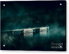 Dark Haunting Wooden Pier Acrylic Print by Jorgo Photography - Wall Art Gallery