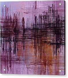 Acrylic Print featuring the painting Dark Lines Abstract And Minimalist Painting by Ayse Deniz