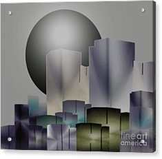 Acrylic Print featuring the digital art Dark Moon Over The City by John Krakora