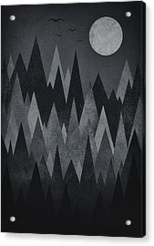 Dark Mystery Abstract Geometric Triangle Peak Woods Black And White Acrylic Print