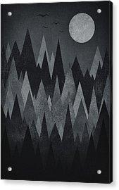 Dark Mystery Abstract Geometric Triangle Peak Woods Black And White Acrylic Print by Philipp Rietz