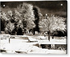 Dark Skies And Winter Park Acrylic Print