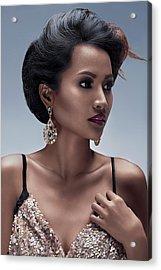 Dark Skinned Woman In Low Bun Hairstyle Acrylic Print