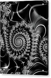 Acrylic Print featuring the digital art Dark Spirals - Fractal Art Black Gray White by Matthias Hauser