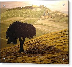 Acrylic Print featuring the painting Dark Tree In The Vast by Ray Khalife