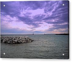 Darkening Skies Over Lake Michigan Acrylic Print by Don Struke