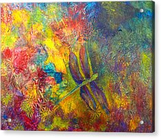 Acrylic Print featuring the painting Darling Dragonfly by Claire Bull