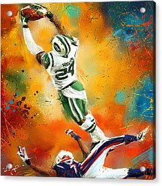 Darrelle Revis Action Shot Acrylic Print by Lourry Legarde