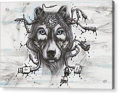 Data Wolf Acrylic Print by Tai Taeoalii