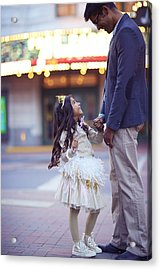 Daughter Smiling At Her Father On Urban Acrylic Print by Gillham Studios