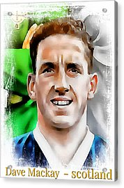 Dave Mackay Football Legend Acrylic Print by Ian Gledhill