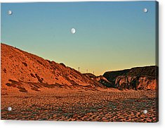 Davenport Dunes Sunset Moonrise Acrylic Print by Larry Darnell