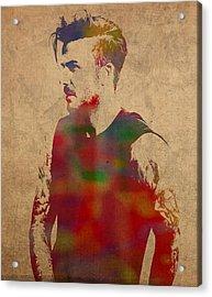David Beckham Watercolor Portrait Acrylic Print by Design Turnpike
