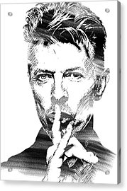 David Bowie Bw Acrylic Print by Mihaela Pater