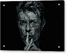 David Bowie Text Portrait - Typographic Poster With Album Titles And Background With Songs Names Acrylic Print by Jose Elias - Sofia Pereira