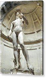 David By Michelangelo Pencil Acrylic Print by Edward Fielding