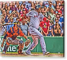 David Ortiz Boston Red Sox Oil Art 1 Acrylic Print by Joe Hamilton