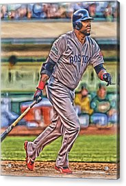 David Ortiz Boston Red Sox Oil Art 2 Acrylic Print by Joe Hamilton