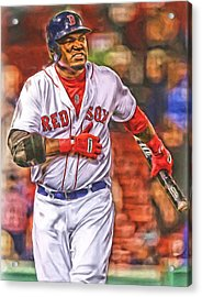 David Ortiz Boston Red Sox Oil Art 3 Acrylic Print by Joe Hamilton