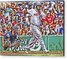 David Ortiz Boston Red Sox Oil Art 5 Acrylic Print by Joe Hamilton