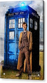 David Tennant As Doctor Who And Tardis Acrylic Print by Elizabeth Coats