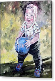 David With His Blue Ball Acrylic Print