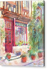 David's Europe 2 - A And C Squire Poterie European Street Scene Watercolor Acrylic Print by Yevgenia Watts