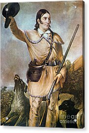 Davy Crockett With His Hunting Dogs In 1836 Acrylic Print by American School